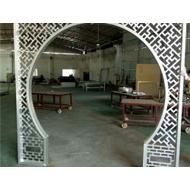 福建铝窗花厂家 仿古型材铝窗花 铝合金屏风 木纹造型铝窗花门